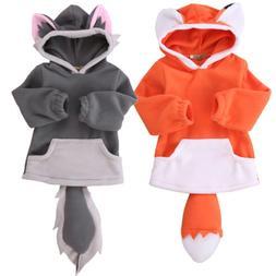 Cute Toddler Kid Baby Boys Girls Fox Wolf Outerwear Hooded C