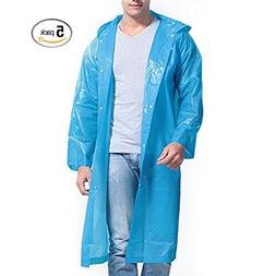 5 Pack! Disposable Rain Poncho with hood, sleeves, and butto