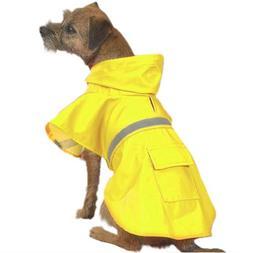 Dog Rain Coat - Yellow w/Reflective Stripe - XX-Large
