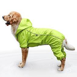 EVELOVE Dog Rain Jacket Four-Legged Dog Raincoat Waterproof