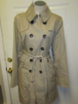 DKNY Donna Karan Abby Double Breasted Trench Coat Raincoat L