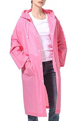 Women Durable EVA Rain Poncho Reusable Hood Raincoat with Po