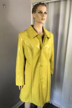 Eloquii Embossed Faux Leather Yellow Coat Jacket Womens Sz 2