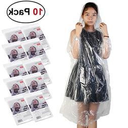 Emergency Disposable Rain Poncho for Adults - Drawstring Hoo