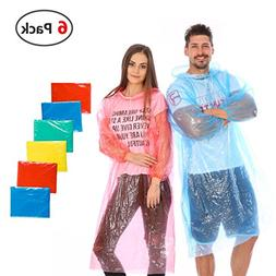 Rongbo Emergency Disposable Rain Ponchos with Hood,6 or 12 P