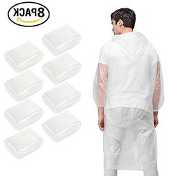 JTENG Emergency Rain Poncho 8 Packs Disposable Assorted Unis