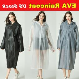 EVA Rain Coat Waterproof Jacket Clear Raincoat Hooded Poncho