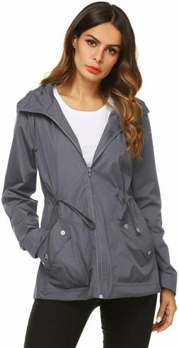 Fashion Rain Jacket Women Insulated Classic Coat Gray Small