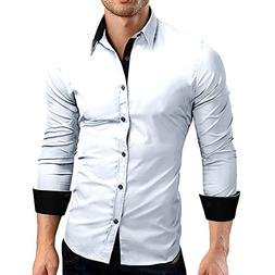Fashion Shirt Top Mens Autumn Casual Formal Solid Slim Fit L