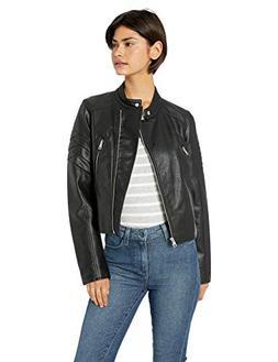 Levi's Women's Faux Leather Fashion Racer Jacket, Black, Sma