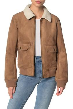 Levi's Women's Faux Leather Sherpa Aviator Bomber Jacket, Ca
