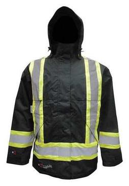 Flame Resistant Insulated Rain Jacket, Black, XL