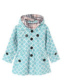 Mallimoda Girl's Hooded Trench Coat Jacket Dress Windbreaker