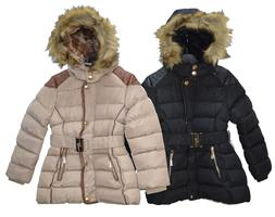 Girls Long Winter Warm Quilted Padded Jackets Coats Outerwea