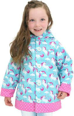 Girls Rain Coat Unicorn Size 6 Hood Fleece Lining Raincoat S