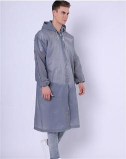 Gray Men Women Raincoat Rain Coat Hooded Waterproof Jacket P