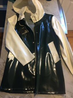 Stutterheim Green White Women's Raincoat Jacket NWT $199 X