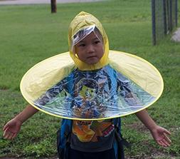 Kids Hands Free Foldable Wearable Raincoat/Hat Umbrella for