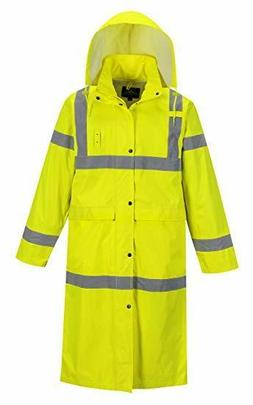 "HI-VISIBILITY LONG RAIN COAT 48"" SIZES S-5X PORTWEST UH445 1"