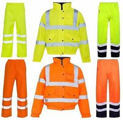 High Visibility Waterproof Rain Coat & Trouser Mens Reflecti