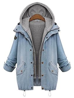 Milumia Women's Hooded Drawstring Boyfriend Trends Jean Swis