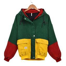 OCASHI Women Hoodie Jacket, Teen Girls Vintage Three-Color P
