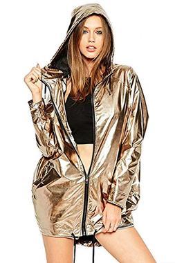 Hoodies Outerwear Long Sleeve Sweatshirt Gold Metallic Zippe