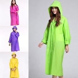 Hot Women Raincoat Button Set Rain Coat Multiuse Hooded Jack
