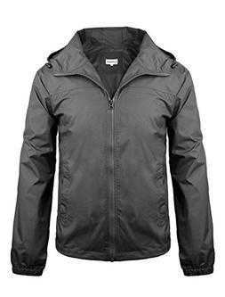 iLoveSIA Men's Lightweight Rain Jacket with Hood Dark Grey S