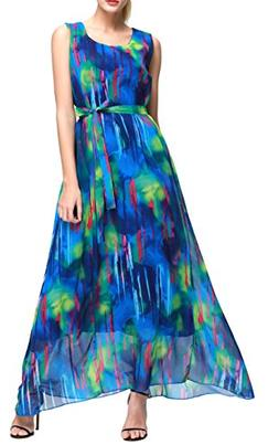 Wantdo Women's Ink Painting Chiffon Maxi Dress Bohemian Summ