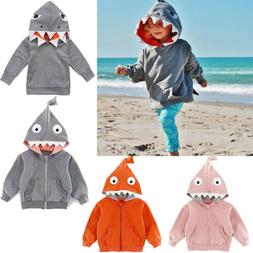 Kids Baby Boy Girl Shark Shape Hooded Sweatshirt Coat Tops J