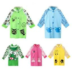 Kids Baby Children Boys Girls Rain Coat Cartoon Animals Patt