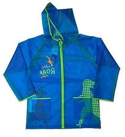 Western Chief Kids Boys Child Rain Coat Blue Dino Roar Zip U