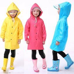 Kids Boys Girls Hooded Raincoat Cape Baby Rainwear Jacket Wa