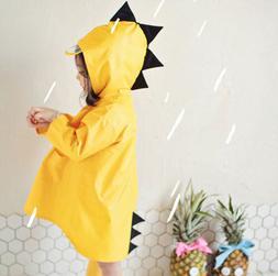 Kids Boys Girls Rain Jacket Cartoon Dinosaur Raincoat Lightw