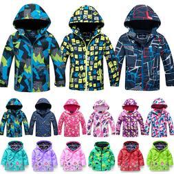 Kid Boys Girls Windbreaker Jacket Rain Coat Hoodie Hooded Zi