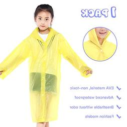 Euow Kids Children Rain Ponchos Reusable Raincoat Waterproof