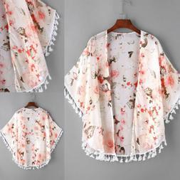 Kids Girls Flowers Kimono Cardigan Jacket Spring Outerwear C