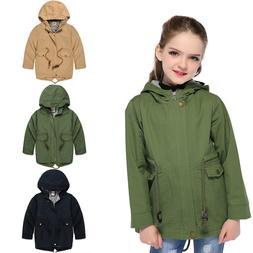 Kids Girls Hooded Jackets Children Boys Windproof Coats Todd