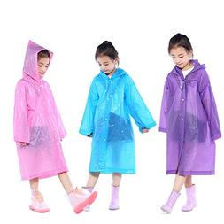 Kids Rain Ponchos, 3 Packs Portable Reusable Emergency Rainc