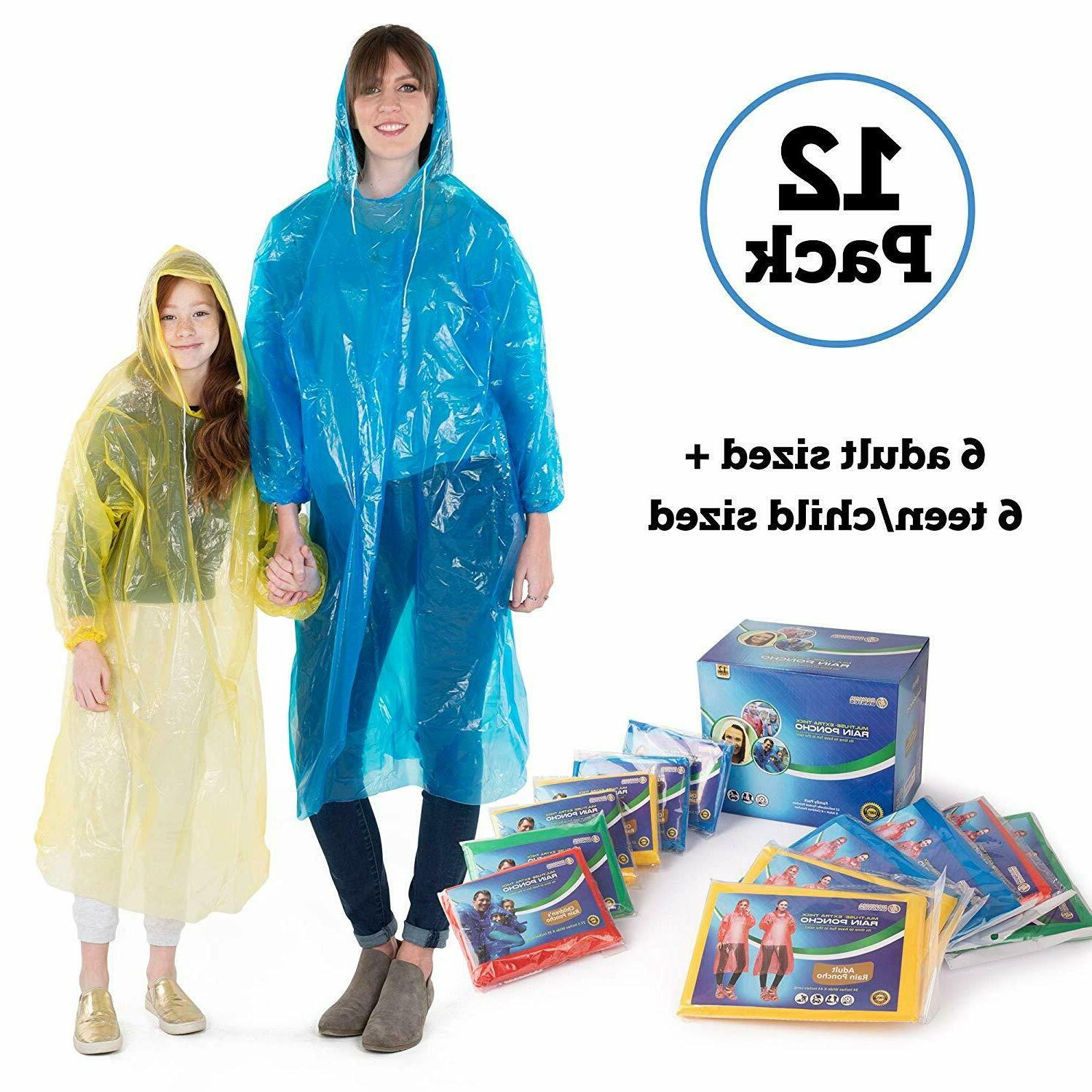 12PCS Disposable Adult Emergency Waterproof Poncho Hiking Ca