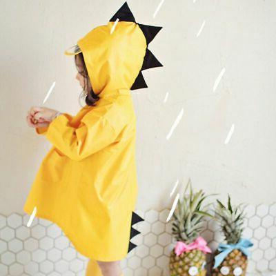 Cute Dinosaur Shaped Rain Coat Kids Boys Girls Waterproof Ho