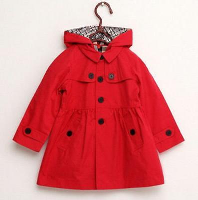 2-7 Year Kid Girl Hooded Long Trench Coat Jacket Clothing