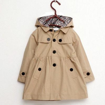 2-7 Kid Hooded Long Coat Jacket Parka Outwear Clothing
