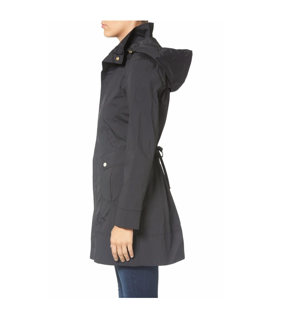$200 Haan Petite Packable Hooded Raincoat