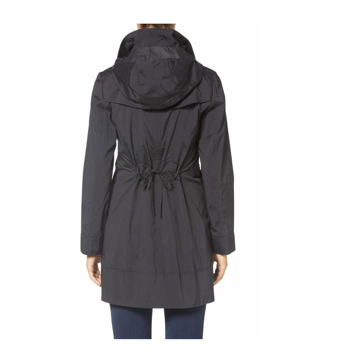 Petite Black Bow Packable Hooded