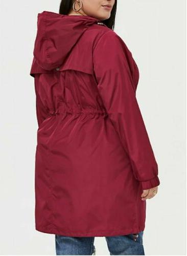 Torrid 22 24 Nwt Maroon Rain Coat Line