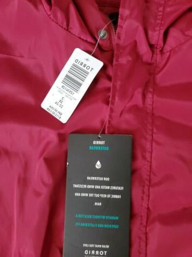 Nwt Red Maroon Nylon Rain Jacket Line Hood Zipper