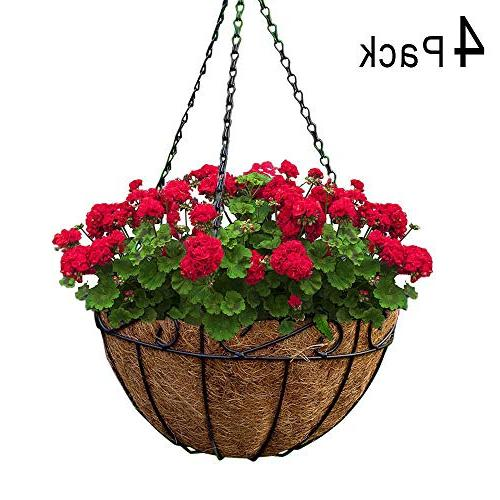 4 Pack Metal Hanging Planter Basket With Coco Coir Liner 10