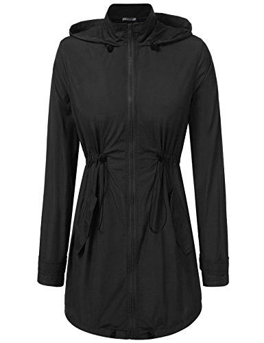 ANGVNS Womens Lightweight Raincoat Zip up Waterproof Active